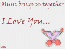 Love Note. Music is one of the things that brings us all together, so this picture shows two music notes coming together to make a heart. Plus it is a Love Note Royalty Free Stock Photography