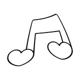Love note musical valentine outline Royalty Free Stock Photography