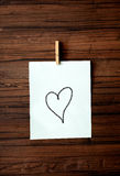 Love note. Notice heart love on white paper Royalty Free Stock Photos