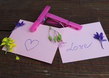 Love note. Pappers with love note and flowers Stock Photos