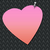 Love note posted. Pink valentine note thumbtacked to background illustration Royalty Free Stock Photo