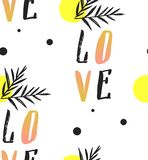 Love note Seamless text pattern with hearts. Text backgrounds applicable in printing, textiles , art objects , clothing. Hand made vector abstract graphic Stock Images