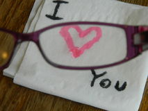 Love Note Seeing Through Glasses Stock Photos