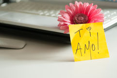Love note Ti Amo! stock photos
