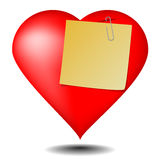 Love note on white background Royalty Free Stock Photography