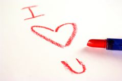 Love notein red lipstick Royalty Free Stock Photos