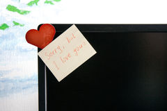 Love notes and card on screen Stock Photos