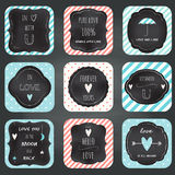 Love Notes Cards Chalkboard Typography Design. Love Notes, Frames and Cards Chalkboard Typography Design Stock Photography