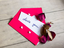 Love notes and envelope Royalty Free Stock Photography