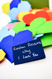 Love Notes. Romantic notes in the form of origami hearts in a declaration of love Royalty Free Stock Image