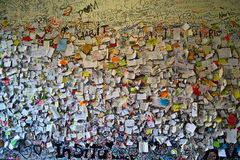 Love notes stuck on wall Royalty Free Stock Image