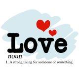 Love Noun. A textual illustration of the noun Love Stock Photography