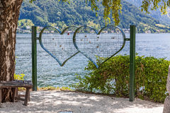 Love oath - grid hearts with nature background Stock Photos