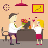 Love in office. Man Manager gives flowers woman in the office Royalty Free Stock Photography