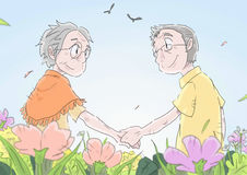 Love. An old woman and an old man holding hands and smiling at each other with love stock illustration