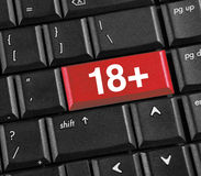 Love. 18+ online concept, symbol on red button keyboard Stock Photo