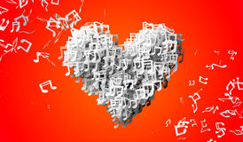 Love orange Musical Note Particles 3D Royalty Free Stock Photo