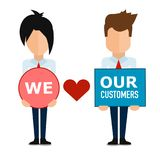 We love our customers , super quality abstract business poster royalty free illustration