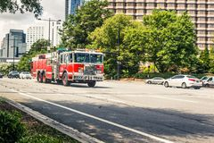 We Love Our First Responders. First Responders travel in Fire Truck to assist in an emergency royalty free stock images