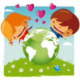 Love our planet. Protect our planet. Green planet kids Stock Photography