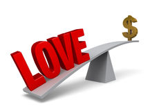 Love Outweighs Money. A bold, red LOVE weigh one end of a gray balance beam down while a gold dollar sign sits high in the air on the other end. Focus is on LOVE Stock Image