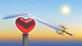 Love Over Hate A1. Dramatic Illustration of slashing sword being broken by the strength of a beautiful, glowing heart royalty free illustration