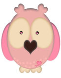 Love Owl. An illustration of a pink owl with hearts and big eyes Stock Image