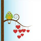 Love owl. Beautiful funny owl sit on heart tree royalty free illustration