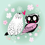 Love owls. Graphic funny love owl on a green background with flowers Stock Photography