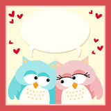 Love owls with a blank speech bubble Royalty Free Stock Photo