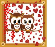 Love owls framed valentine Stock Photo