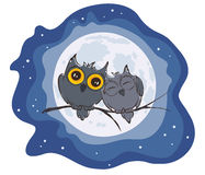 Love owls and full moon Royalty Free Stock Photo