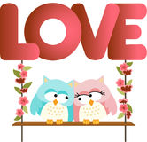 Love owls on a swing love word letters Stock Image