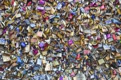 Love padlock background. Background of padlocks, picture taken at Pont des arts bridge, Paris, France Stock Photo