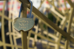 Love Padlock of Interconnected Hearts Royalty Free Stock Images
