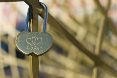 Love Padlock of Interconnected Hearts Royalty Free Stock Photos