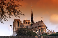 Love padlock and Notre dame cathedral Royalty Free Stock Image