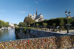 Love padlock and Notre dame cathedral Royalty Free Stock Images