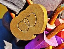 Love padlock with two joined hearts Royalty Free Stock Photos