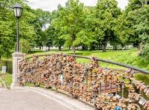 Love padlock wall on the bridge. Stock Image
