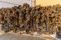Love padlock wall in center of the city. Stock Photos