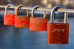 Love padlocks on bridge Royalty Free Stock Photography