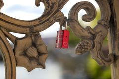 Love padlocks on the bridge. Fence above the river Royalty Free Stock Photography