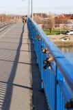 Love Padlocks on the bridge. Padlocks on the railings of the bridge. Symbol of eternal love royalty free stock image