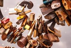 Love padlocks on bridge stock photography