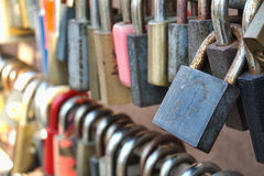 Love padlocks. Bunch of love padlocks with selective focus Royalty Free Stock Photography