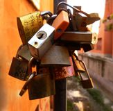 Love padlocks of different sizes and shapes royalty free stock images