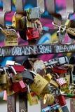 Love padlocks on a fence Stock Photo