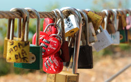 Love padlocks hanging on fence. Many of love padlocks hanging on fence in Thailand Royalty Free Stock Image