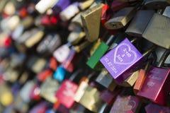 Love padlocks on the Hohenzollern Bridge in Cologne. Detail view of love padlocks on the Hohenzollern Bridge in Cologne, Germany Stock Images